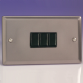 Varilight 3 Gang 1 or 2 Way 10A Rocker Light Switch (Twin Plate) Pewter/Slate Grey - XR93B